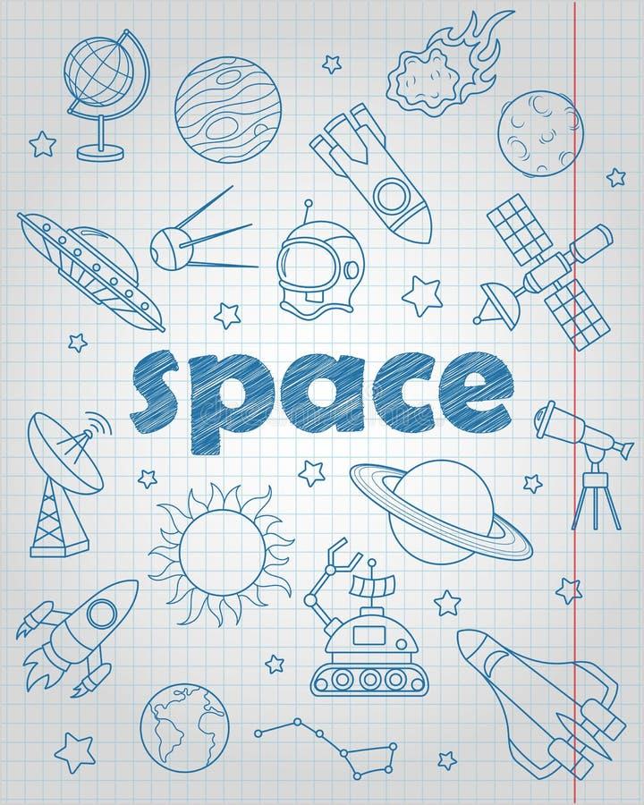 等高套关于空间飞行和天文的象,在文字书的蓝色等高象在笼子覆盖 向量例证