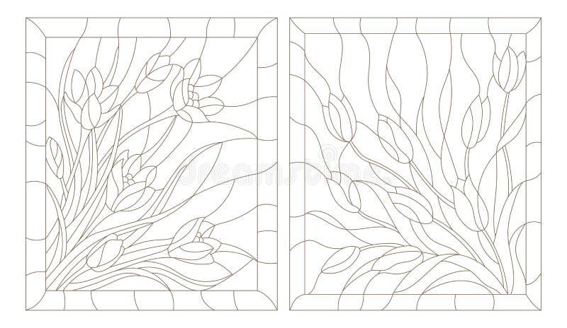 等高套在彩色玻璃样式的例证,郁金香和番红花,在白色背景的黑暗的概述 向量例证
