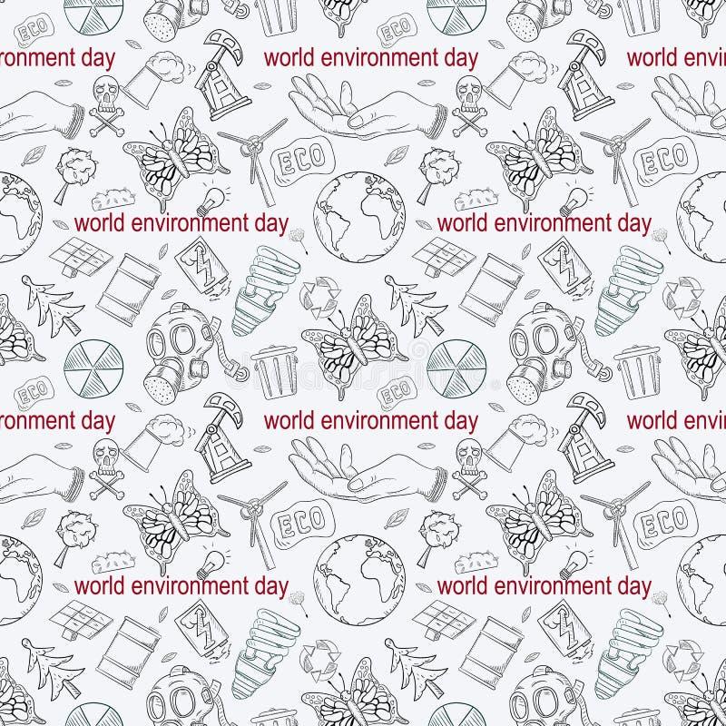 等高无缝的样式illustration_8_for人生,题材各种各样的对象设计为世界环境日 向量例证