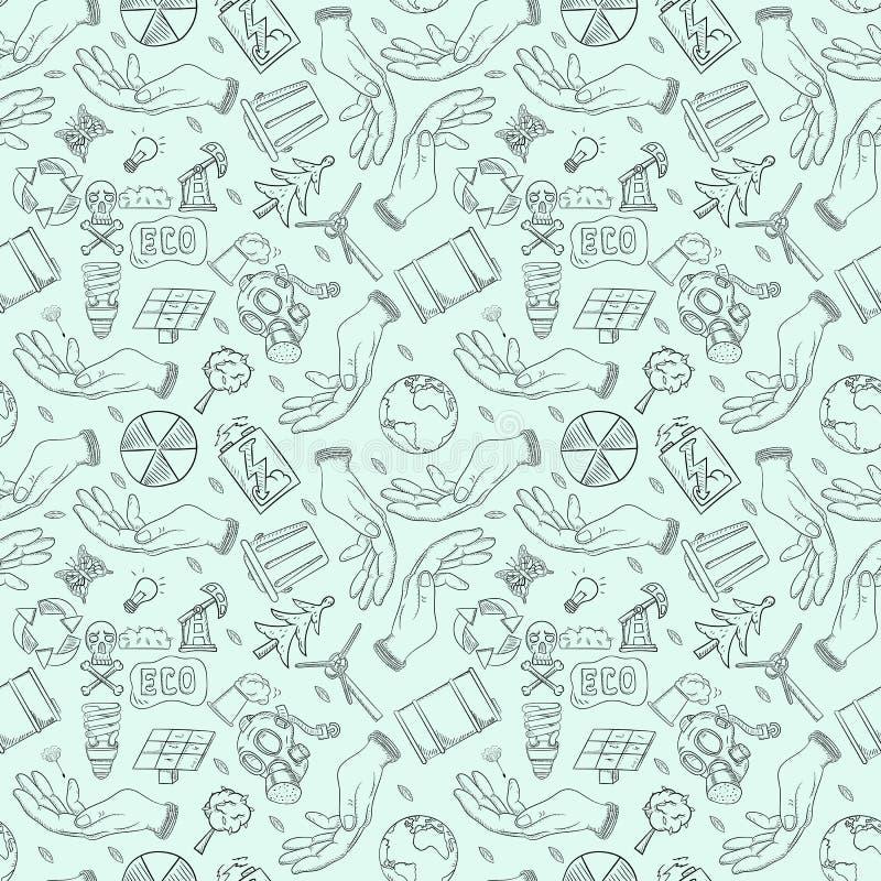 等高无缝的样式illustration_2_for人生,题材各种各样的对象设计为世界环境日 库存例证