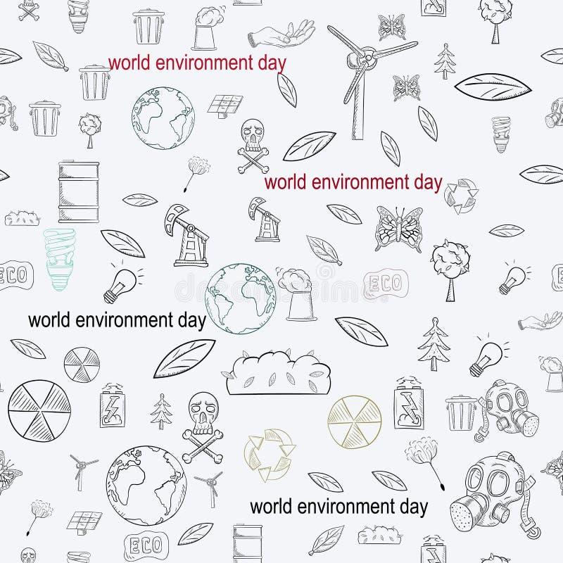等高无缝的样式illustration_7_for人生,题材各种各样的对象设计为世界环境日 库存例证