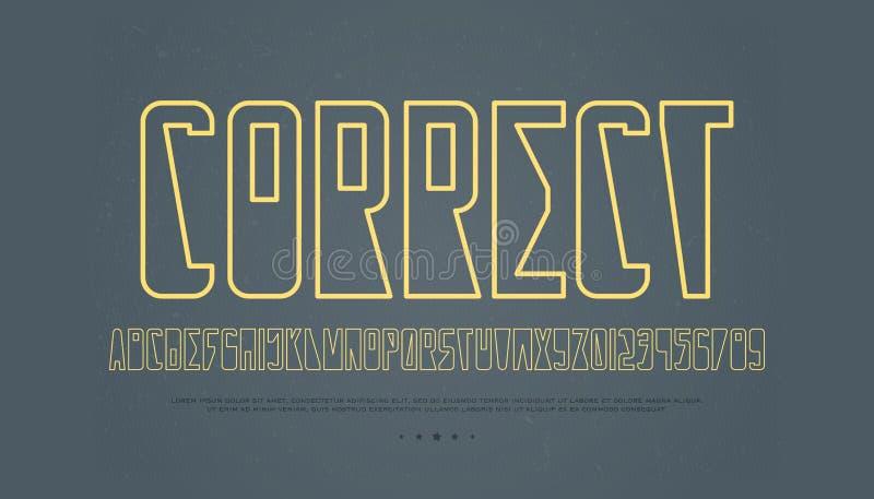 等高样式字母表信件和数字 轮廓字体 皇族释放例证