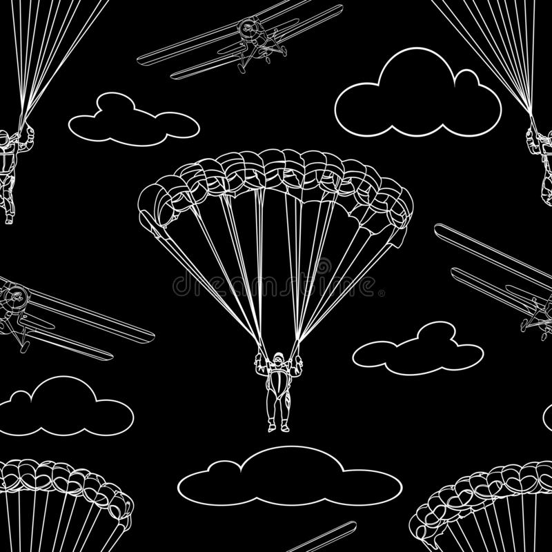 等高白色跳伞运动员形象,体育的无缝的样式飞行和在黑背景的云彩 皇族释放例证