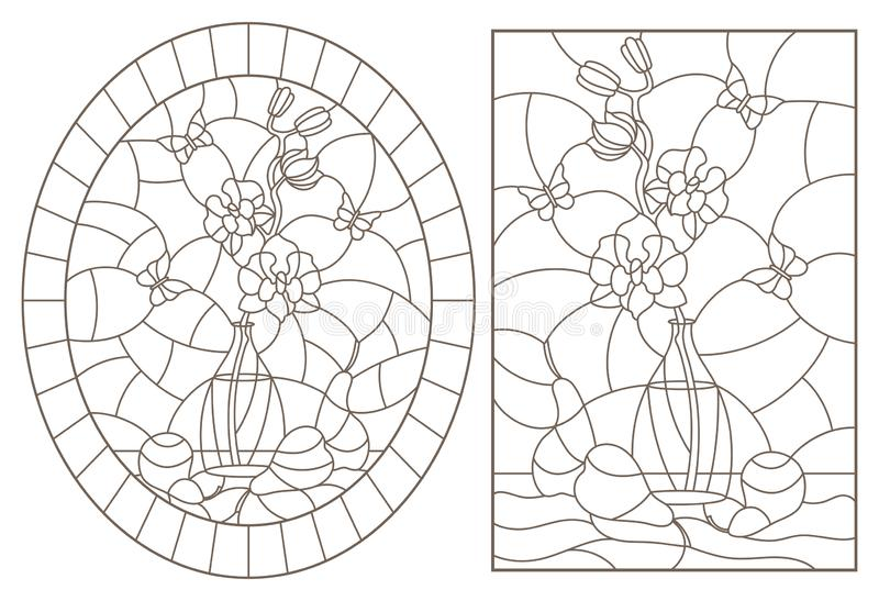 等高设置与在彩色玻璃样式的例证与静物画、兰花花束和果子,在whi的黑暗的等高 皇族释放例证