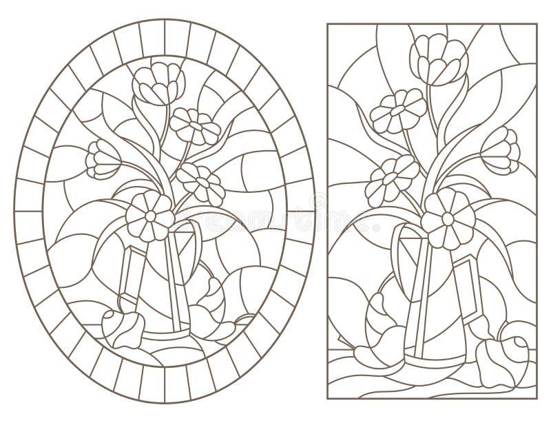 等高设置与在彩色玻璃样式的例证与静物画、花束和果子,在whi的黑暗的等高 库存例证