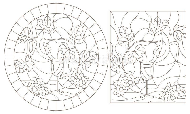 等高设置与彩色玻璃Windows,水罐和果子,在白色背景的黑暗的等高的例证与静物画的 向量例证