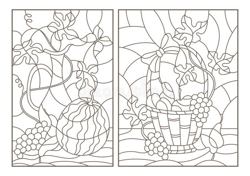 等高设置了与在彩色玻璃样式的例证与静物画、果子、莓果和陶器,在白色backg的黑暗的概述 皇族释放例证