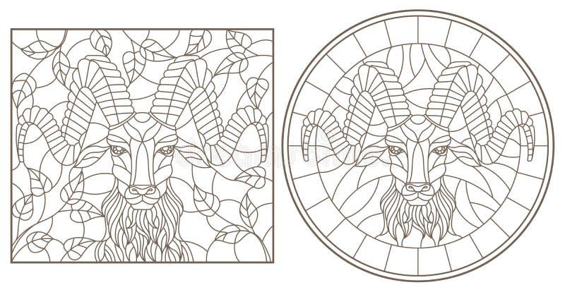 等高设置了与彩色玻璃Windows的例证与RAM ` s头,在周围和长方形图象,在丝毫的黑暗的等高的 皇族释放例证