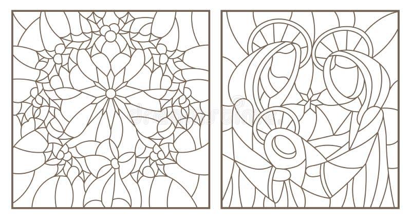 等高设置了与彩色玻璃Windows的例证在圣经的题材,有玛丽和约瑟夫和圣诞节花圈的耶稣婴孩的 向量例证