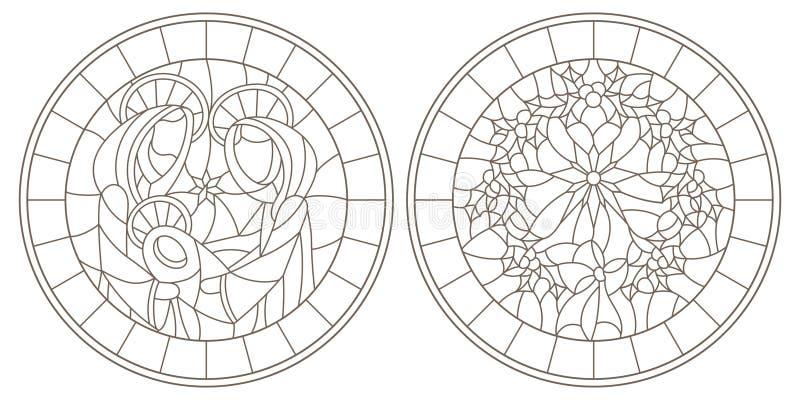 等高设置了与彩色玻璃Windows的例证在圣经的题材,有玛丽和约瑟夫和圣诞节花圈的w耶稣婴孩的 皇族释放例证