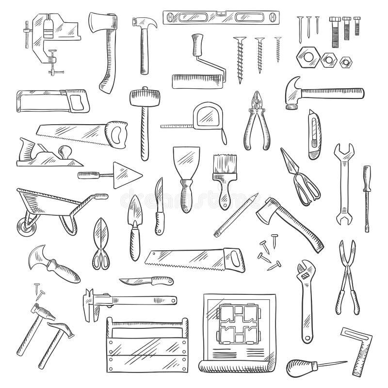 建筑和修理工具或者设备 皇族释放例证