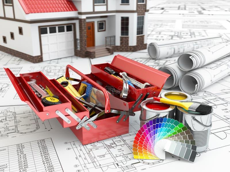 建筑和修理概念 工具箱、油漆罐头和房子 皇族释放例证