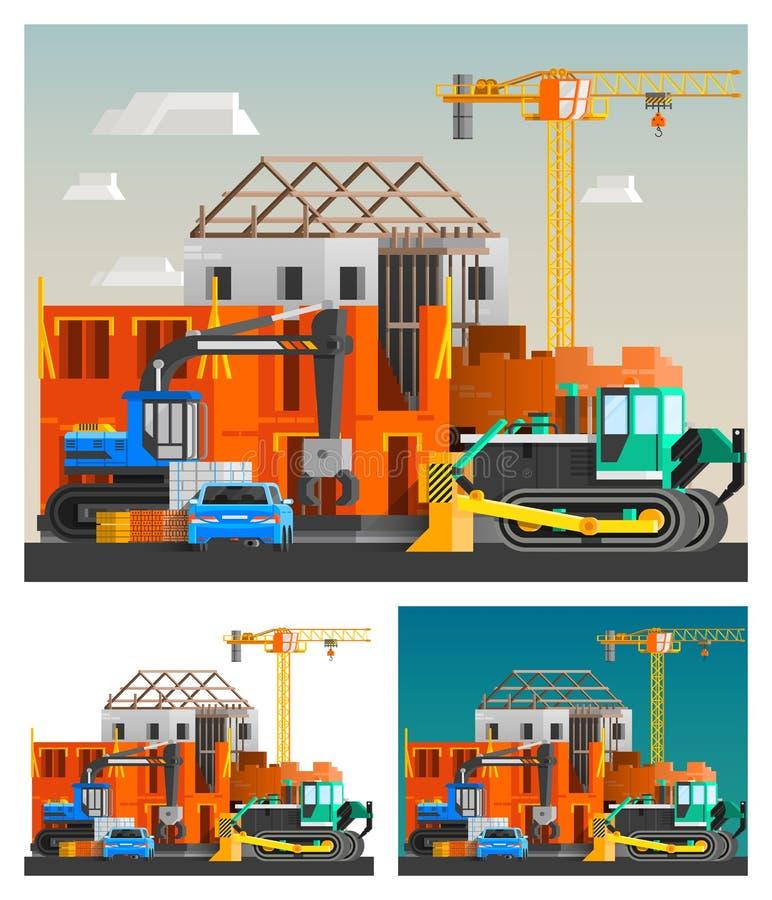 建筑和被设置的机器排 皇族释放例证