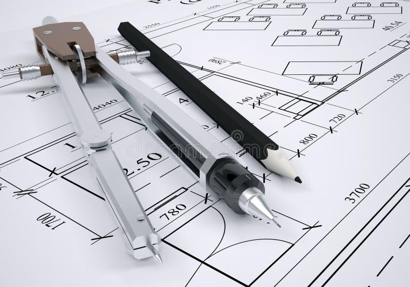 建筑图画和工程学工具 皇族释放例证