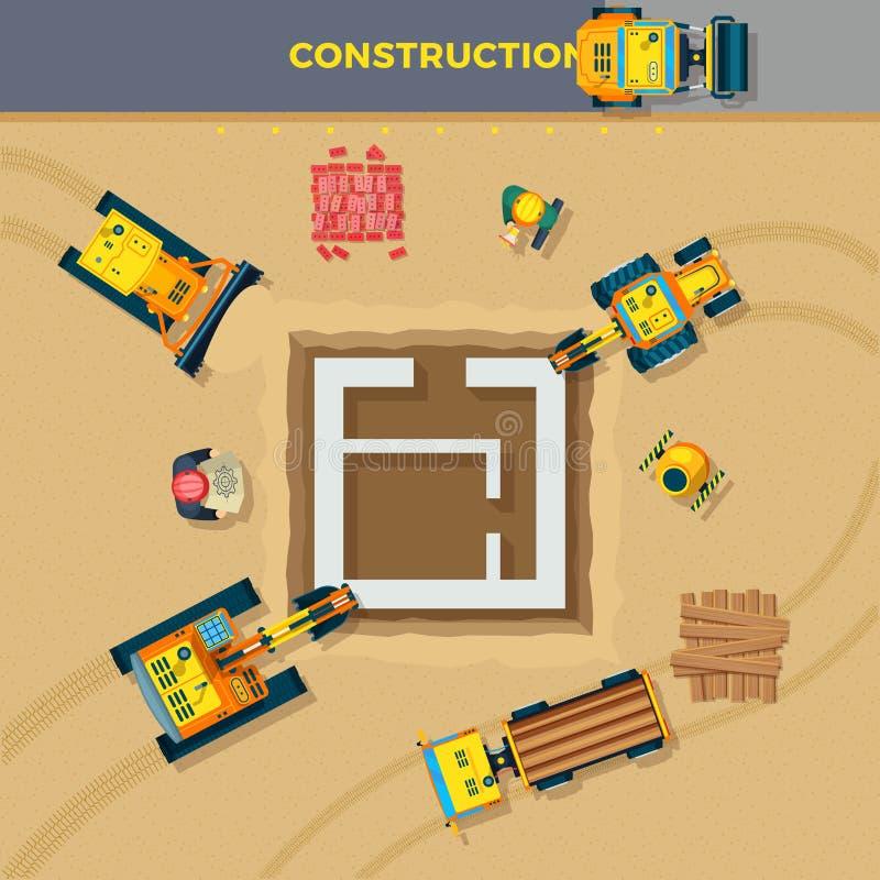建筑处理顶视图例证 皇族释放例证