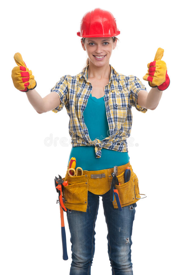建筑女工年轻人 免版税库存照片