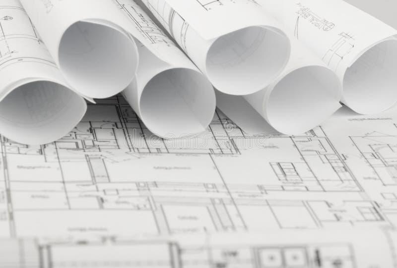 建筑学图纸和房子计划劳斯  库存图片