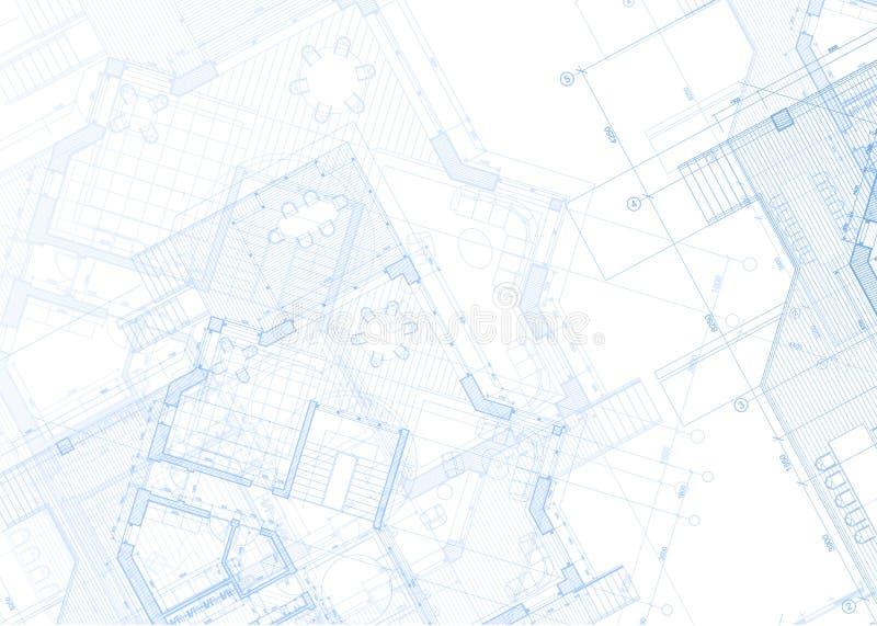 建筑学图纸-房子计划 向量例证