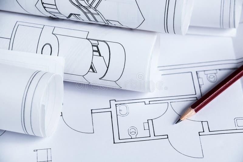建筑学图纸 免版税库存照片