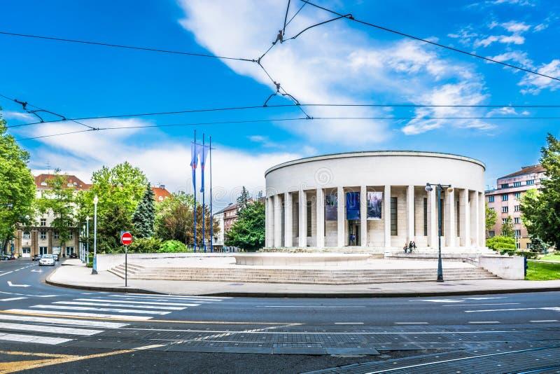 建筑学在老萨格勒布中心,克罗地亚 免版税库存照片