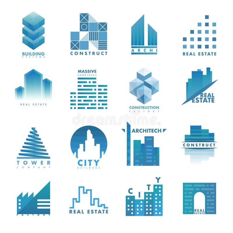 建筑学大厦摩天大楼建筑建造者开发商机构商标徽章房地产传染媒介例证 向量例证