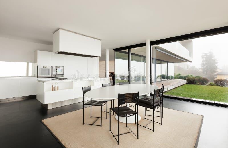 建筑学,一栋现代别墅的内部 库存图片