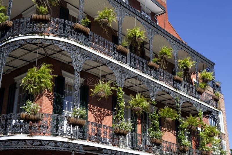 建筑学:法国街区-新奥尔良 库存照片