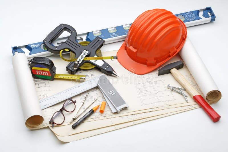 建筑安全工具 免版税库存图片