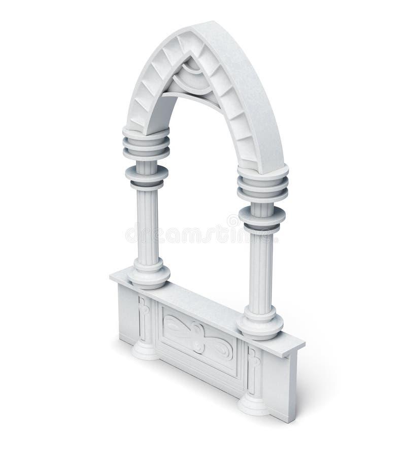 建筑对象专栏成拱形在wh的栏杆楼梯栏杆 向量例证
