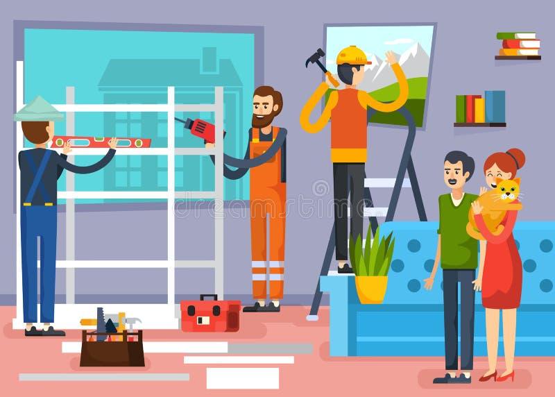 建筑工人平的构成海报 库存例证