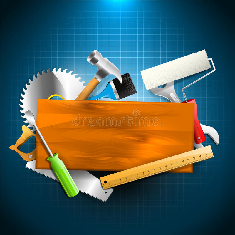 建筑工具-木匠业背景 向量例证