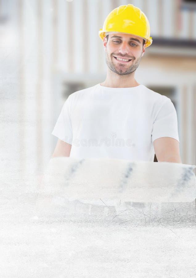 建筑工地的画家有转折作用的 免版税库存照片