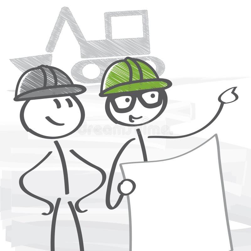 建筑工程师和工匠 皇族释放例证