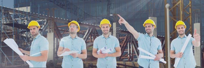 建筑师反对建筑背景的人拼贴画 免版税图库摄影