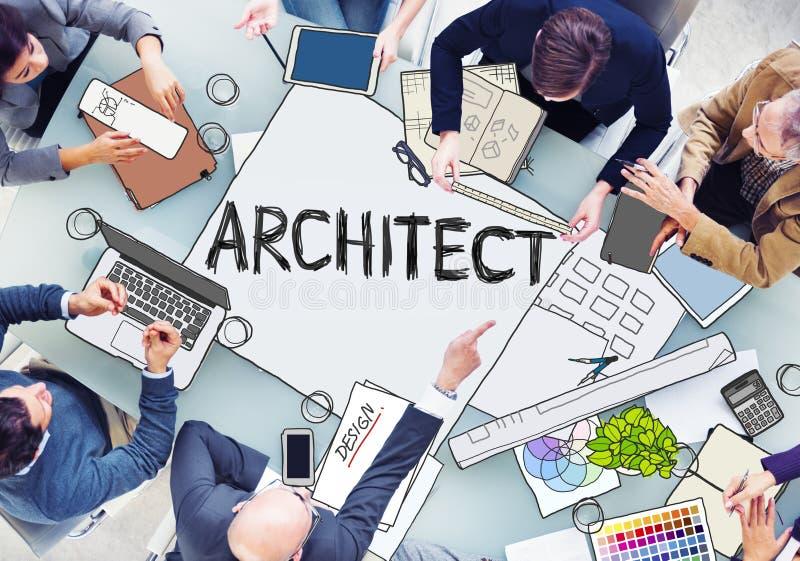 建筑师工作在照片和例证的小组 向量例证