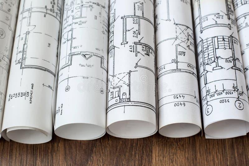 建筑师工作场所 建筑项目,图纸, blueprin 库存图片