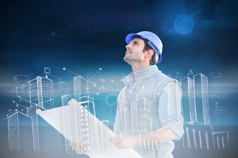 建筑师的综合图象有图纸的 免版税库存照片