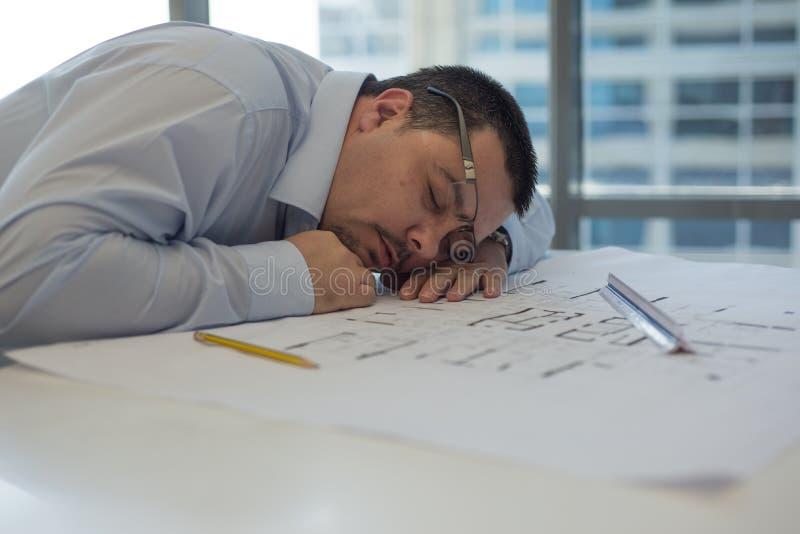建筑师睡觉 库存照片