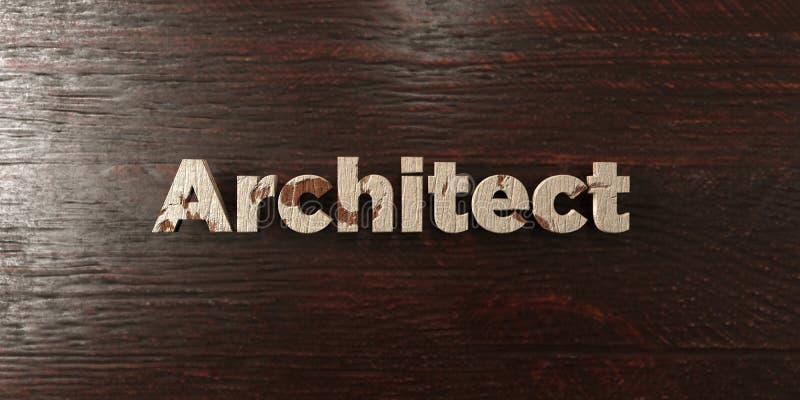 建筑师-在槭树的脏的木标题- 3D回报了皇族自由储蓄图象 向量例证