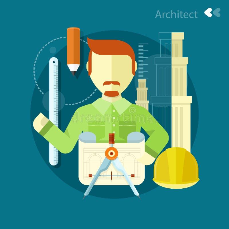 建筑师建设者工作者在他的工作地点 向量例证
