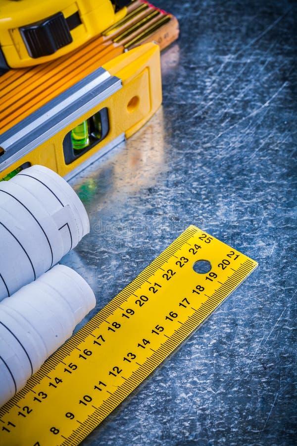 建筑平实图纸和单位  免版税库存图片