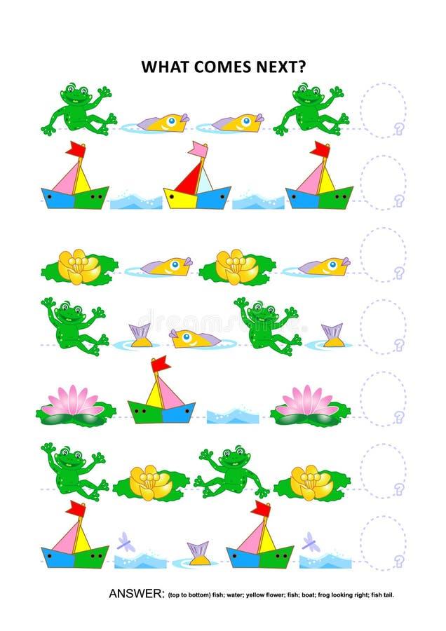 筑成池塘生活主题的教育逻辑比赛-连续模式识别 向量例证