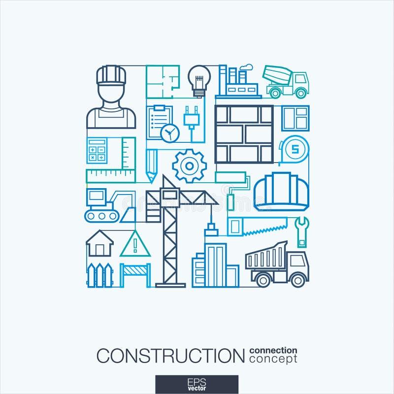 建筑抽象背景,联合稀薄的线标志 库存例证