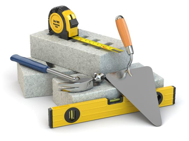 建筑概念。砖、修平刀、锤子和水平。 皇族释放例证