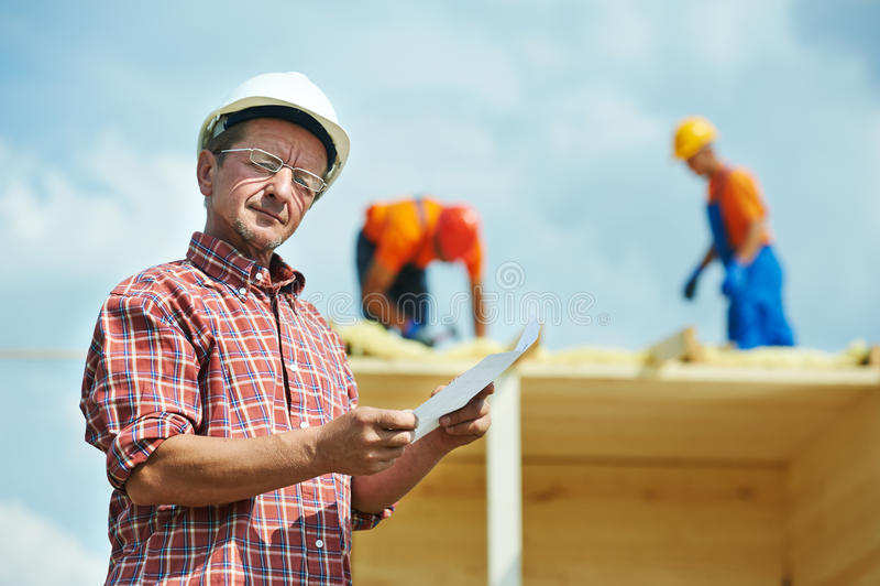建筑站点的建造者工作者 免版税库存图片