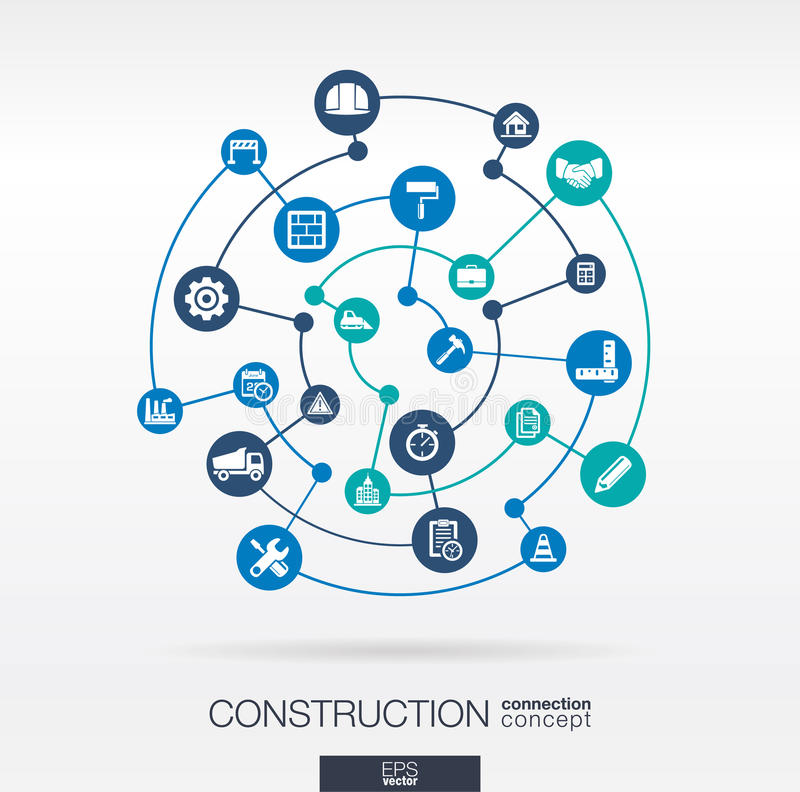 建筑网络 与线、圈子和集成平的象的抽象背景 库存例证