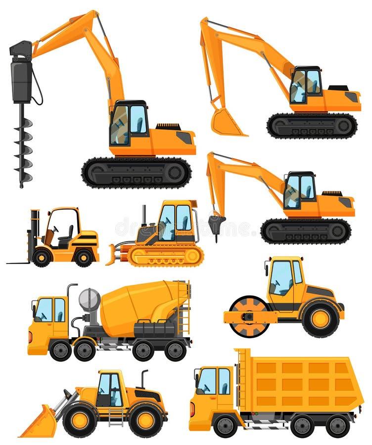 建筑车的不同的类型 库存例证