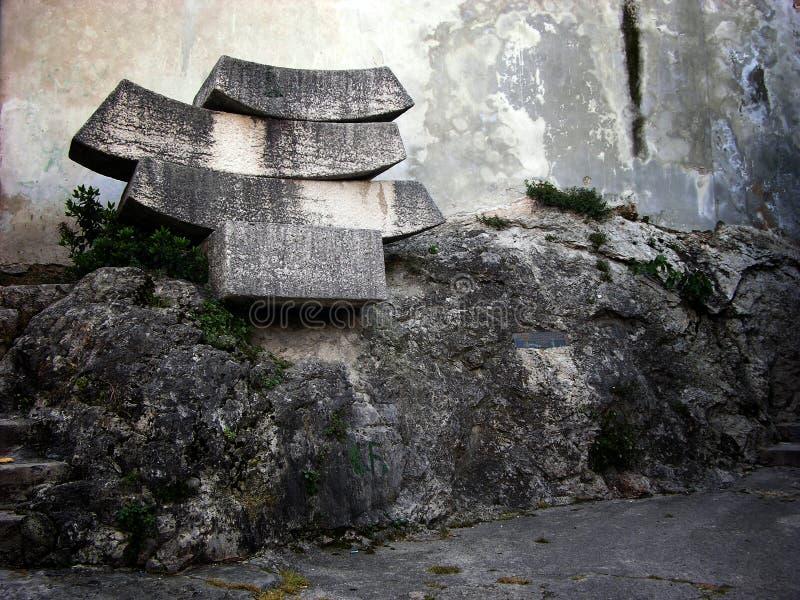 建筑细节和门面墙壁在Volosko村庄在克罗地亚 免版税库存照片