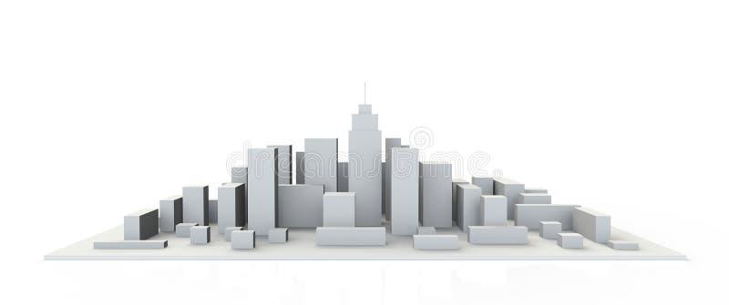 建筑3D式样缩样街市透视 库存例证