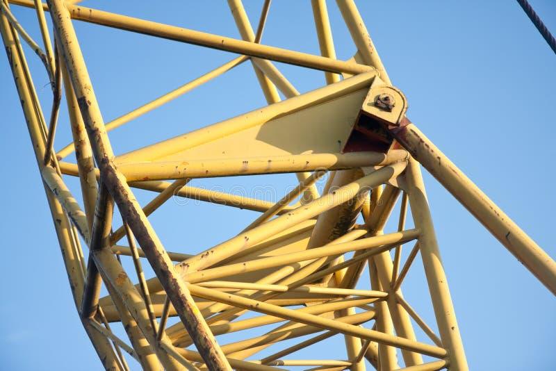 筒形大起重机框架的三角帆 库存照片